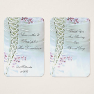 White and pink wedding thank you tag