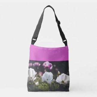 White and purple anemone flowers crossbody bag