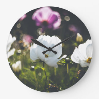 White and purple anemone flowers large clock