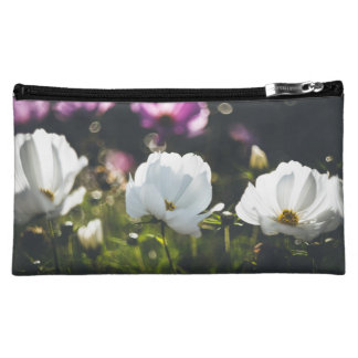 White and purple anemone flowers makeup bag