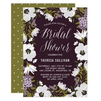 White and Purple Anemones Wreath Bridal Shower Card