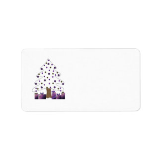 White and Purple Christmas Tree Labels