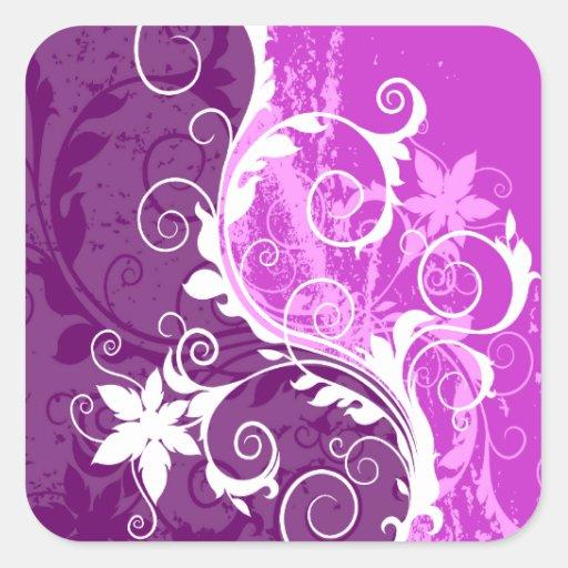 White and Purple Floral Grunge Square Sticker