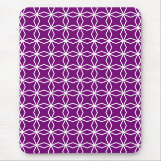 White and Purple Geometric Pattern Mouse Pad