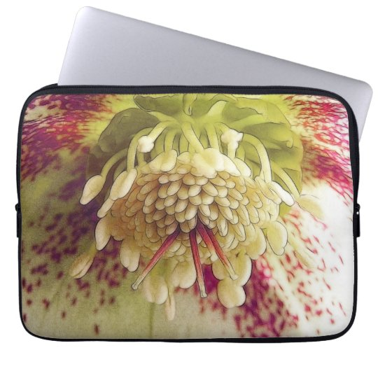 White And Purple Hellebore Laptop Sleeve
