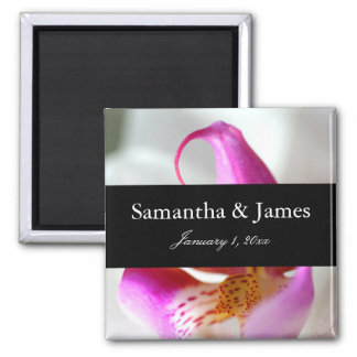 White and Purple Orchid Personal Wedding Magnet