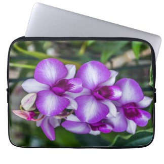 White and purple orchids laptop sleeve