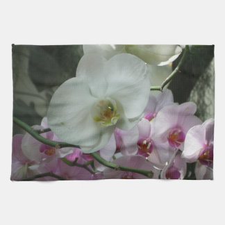 White and Purple Orchids Tea Towel