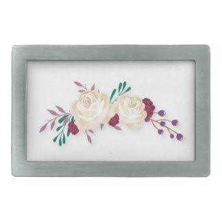 White and purple roses rectangular belt buckle