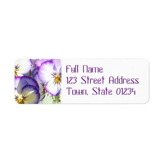 White and Purple Violas Mailing Label Return Address Label