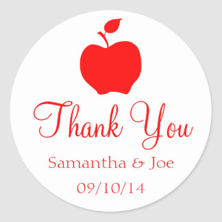White and Red Apple Thank You Round Sticker