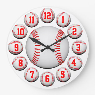 White and Red Baseball #2 Customizable Large Clock