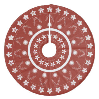 White and Red Christmas Pattern Tree Skirt