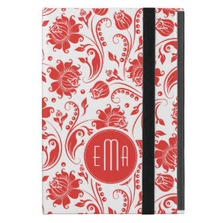 White And Red Floral Design Monogram iPad Mini Cases