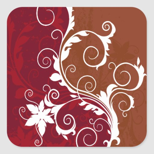 White and Red Floral Grunge Square Sticker