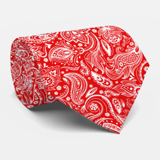 White And Red Floral Paisley Pattern Tie