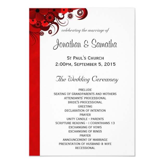 ... Wedding Program Templates 13 Cm X 18 Cm Invitation Card | Zazzle