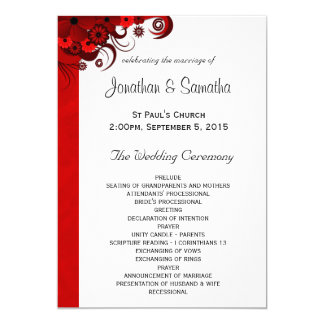 White and Red Floral Wedding Program Templates 13 Cm X 18 Cm Invitation Card