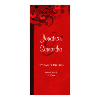 White and Red Floral Wedding Program Templates Rack Cards