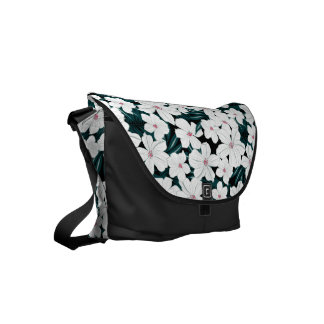 White and red flowers on green leaves courier bags