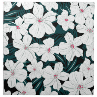 White and red flowers on green leaves napkin