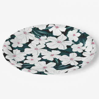 White and red flowers on green leaves paper plate