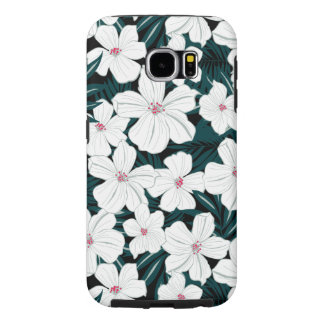 White and red flowers on green leaves samsung galaxy s6 cases