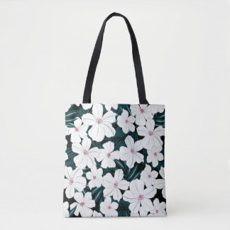 White and red flowers on green leaves tote bag