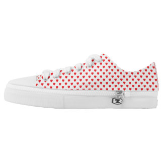 White And Red Hearts Polka Dot Pattern Printed Shoes