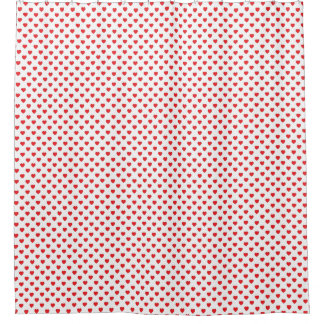 White And Red Hearts Polka Dot Pattern Shower Curtain
