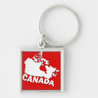 White and Red Map of Canada Key Ring