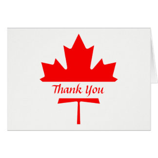 White and Red Maple Leaf Thank You Card