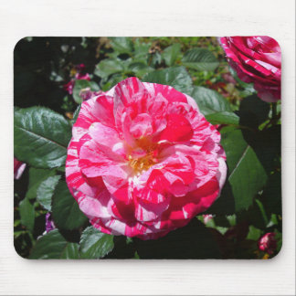 White and Red Marble Flower Mouse pad