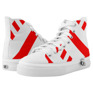 White and Red Metro Hi-Top Printed Shoes