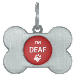 White And Red Paw Print I'm Deaf Pet Tag