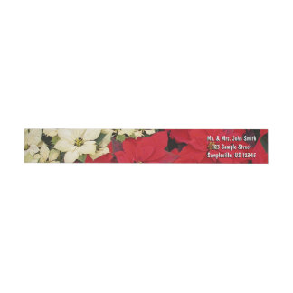 White and Red Poinsettias I Holiday Floral Wrap Around Label