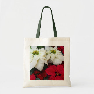 White and Red Poinsettias II Christmas Holiday Tote Bag