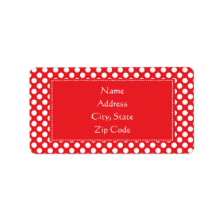 White and Red Polka Dot Address Label