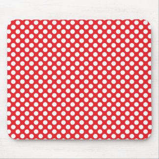 White and Red Polka Dot Mouse Pad