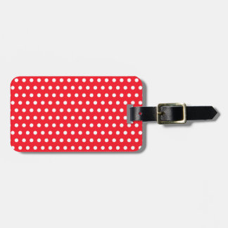 White and Red Polka Dot Pattern. Spotty. Bag Tag