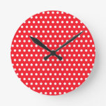 White and Red Polka Dot Pattern. Spotty. Round Wall Clock