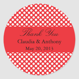 White and Red Polka Dot Wedding Thank You Round Sticker
