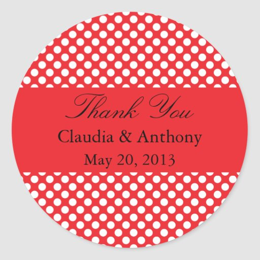 White and Red Polka Dot Wedding Thank You Sticker