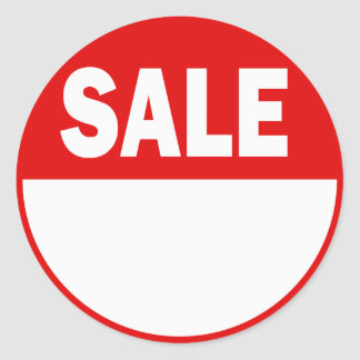 White and Red Retail Sale Sticker