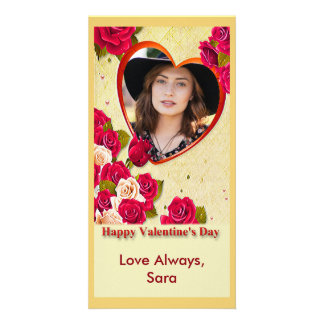 White and Red Roses and Heart Frame Photo Card