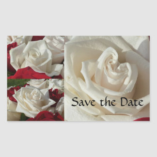 White and Red Roses save the date stickers