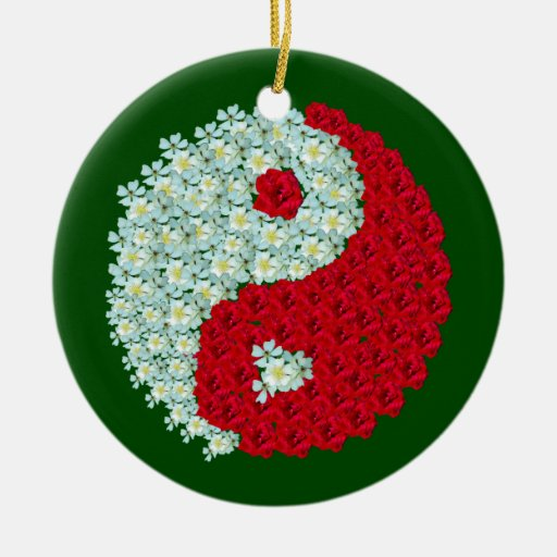 White and Red roses Yin Yang ornament