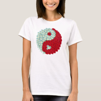 White and Red roses Yin Yang shirt