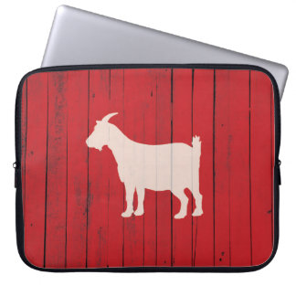 White and Red Rustic Wood Panel Country Goat Laptop Sleeve