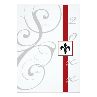 White and Red Scroll Ribbon Graduation Card